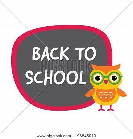 Back to school banner with a cute owl