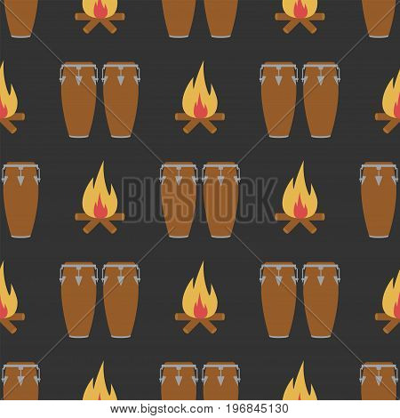 Seamless pattern with conga and bonfire. Vector sign for web graphics.