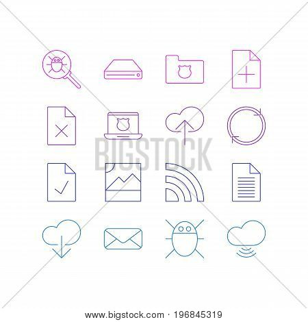 Editable Pack Of Bug, Data Upload, Photo And Other Elements.  Vector Illustration Of 16 Internet Icons.