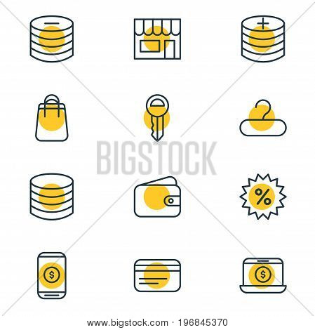 Editable Pack Of Rack, Money, Minus And Other Elements.  Vector Illustration Of 12 Trading Icons.