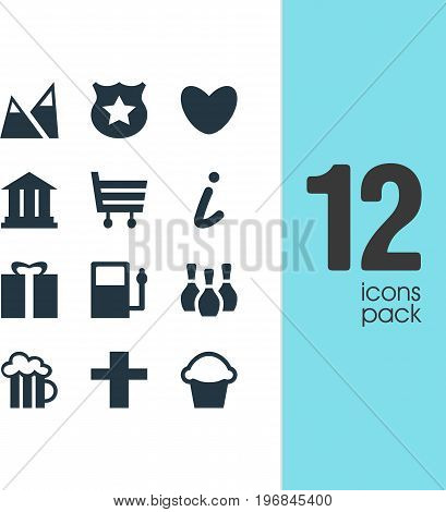 Editable Pack Of Beer Mug, Skittles, Refueling And Other Elements.  Vector Illustration Of 12 Check-In Icons.