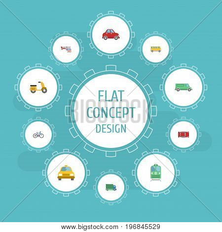 Flat Icons Scooter, Omnibus, Automotive And Other Vector Elements