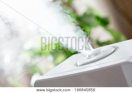 Vapor from humidifier in the room. Humidification. Vapor