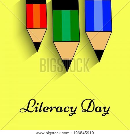 illustration of pencil with literacy day text on the occasion of Literacy Day