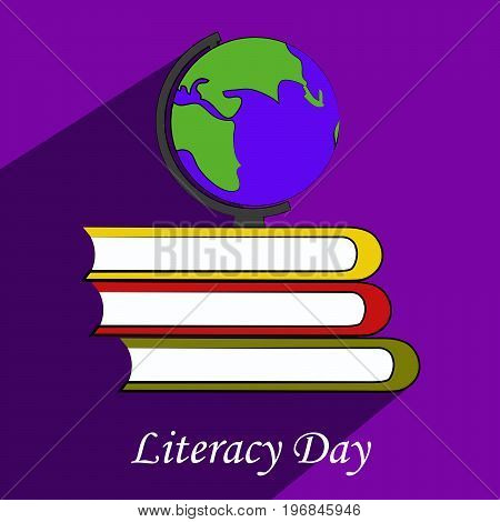 illustration of globe and book with literacy day text on the occasion of Literacy Day