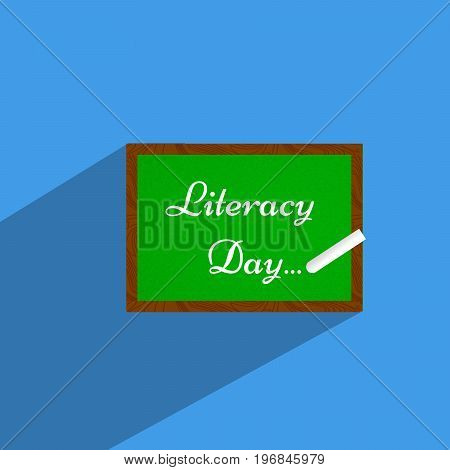 illustration of slate with literacy day text on the occasion of Literacy Day