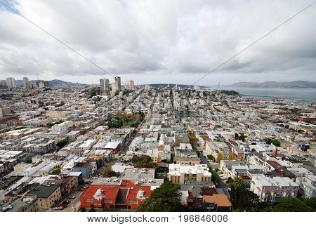 san francisco city view from coit tower in november 2016