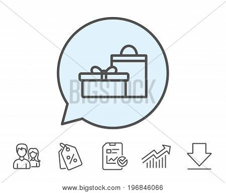 Gift box with bag line icon. Present or Sale sign. Birthday Shopping symbol. Package in Gift Wrap. Report, Sale Coupons and Chart line signs. Download, Group icons. Editable stroke. Vector