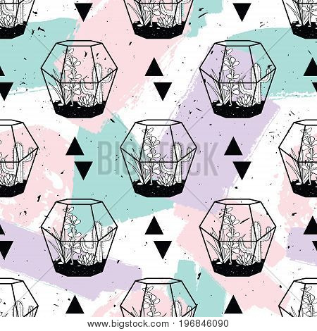 Vector Hand Drawn Seamless Pattern With Geometric And Brush Painted Elements, Triangles, Cactuses An
