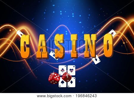 Shining casino banner with playing cards. Vector illustration