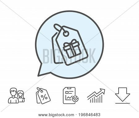 Coupons with Gifts line icon. Present box or Sale sign. Birthday Shopping symbol. Package in Gift Wrap. Report, Sale Coupons and Chart line signs. Download, Group icons. Editable stroke. Vector