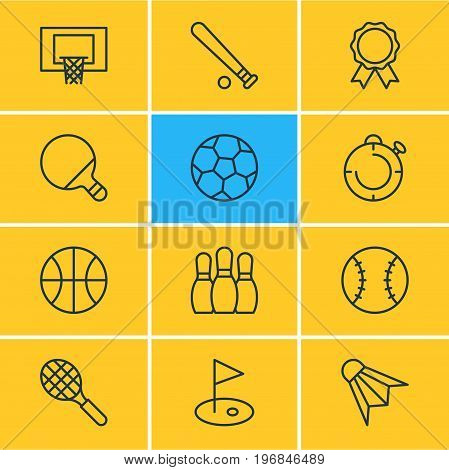 Editable Pack Of Badminton, Golf, Basketball And Other Elements.  Vector Illustration Of 12 Fitness Icons.