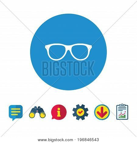 Retro glasses sign icon. Eyeglass frame symbol. Information, Report and Speech bubble signs. Binoculars, Service and Download icons. Vector
