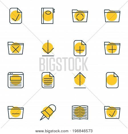 Editable Pack Of Delete, Done, Book And Other Elements.  Vector Illustration Of 16 Bureau Icons.