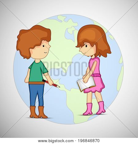 illustration of boy and girl on earth background on the occasion of Literacy Day