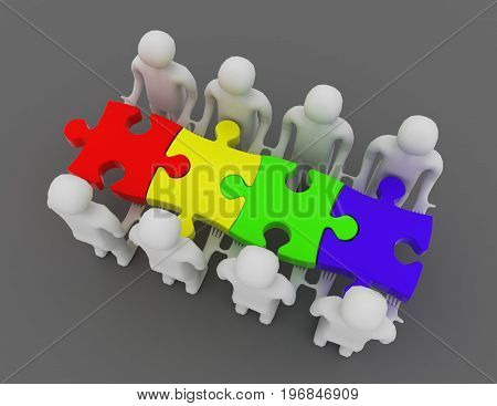 3D Teamwork Concept. People And Puzzles . 3D Rendered Illustration