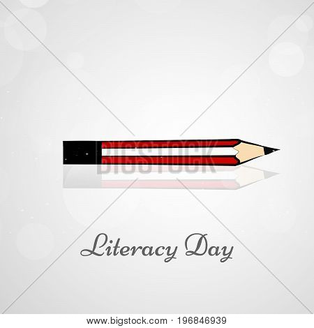 illustration of pencil with literacy day on the occasion of Literacy Day