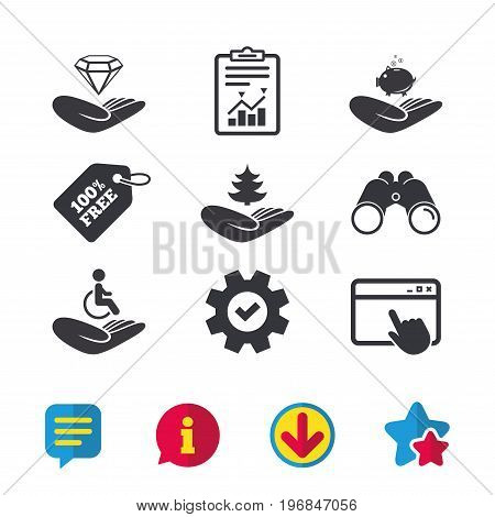 Helping hands icons. Protection and insurance symbols. Financial money savings, save forest. Diamond brilliant sign. Disabled human. Browser window, Report and Service signs. Vector