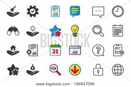 Helping hands icons. Financial money savings insurance symbol. Home house or real estate and lamp, key signs. Chat, Report and Calendar signs. Stars, Statistics and Download icons. Vector