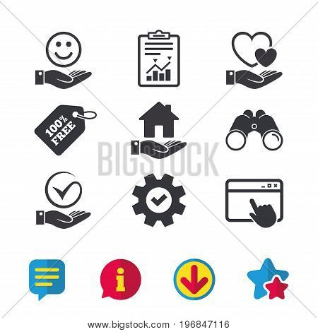 Smile and hand icon. Heart and Tick or Check symbol. Palm holds house building sign. Browser window, Report and Service signs. Binoculars, Information and Download icons. Stars and Chat. Vector