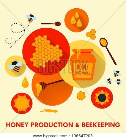 Honey production and beekeeping flat circle icons concept. Set of design elements. Vector flat illustration of beekeeping element. Honey pot, flying bee, honeycom, sunflower, pot, dipper stick. Eps10