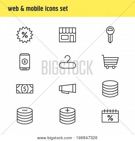 Editable Pack Of Minus, Sales, Coins And Other Elements.  Vector Illustration Of 12 Trading Icons.