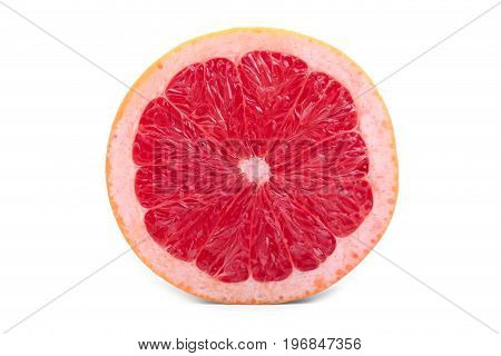 A slice of ripe grapefruit, isolated on a white background. Fresh, juicy, organic, bright red and cut in a half grapefruit. Citrus fruits. Grapefruit slice full of vitamins.