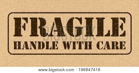 Fragile Symbol For Cargo. Vector Cardboard Texture High Quality. Horizontal Vector Emblem