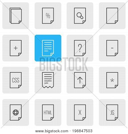 Editable Pack Of Document, Basic, Code And Other Elements.  Vector Illustration Of 16 File Icons.