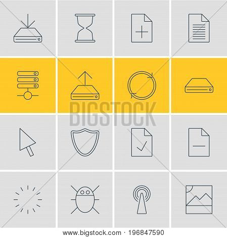 Editable Pack Of Checked Note, Hdd Sync, Refresh And Other Elements.  Vector Illustration Of 16 Internet Icons.