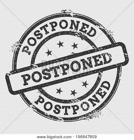 Postponed Rubber Stamp Isolated On White Background. Grunge Round Seal With Text, Ink Texture And Sp