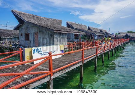 Semporna,Sabah,Malaysia-Apr 22,2017:View of Floating Resort in Semporna,Sabah.Semporna is a gateway for diving & snorkeling trips to the islands of Sipadan,Mabul,Mataking,Maiga & others