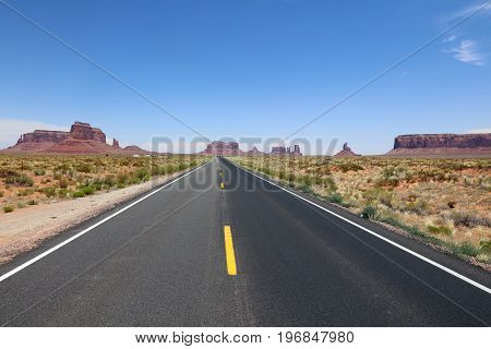 Road to Monument Valley in Arizona. USA