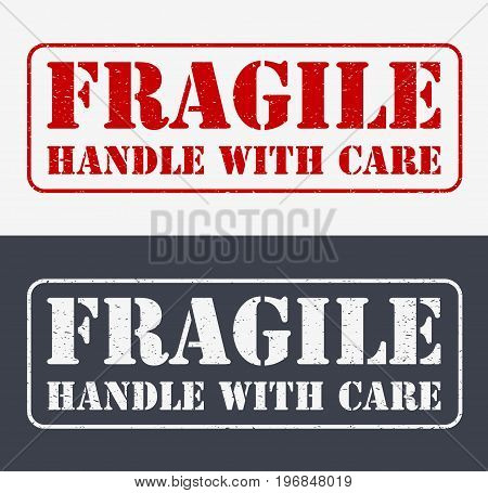 Fragile Symbol For Cargo With Grunge Design. Horizontal Vector Emblem