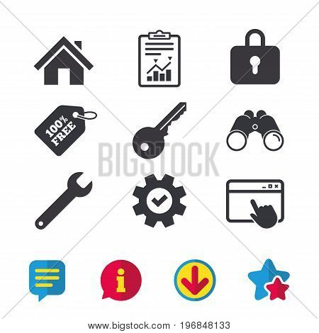 Home key icon. Wrench service tool symbol. Locker sign. Main page web navigation. Browser window, Report and Service signs. Binoculars, Information and Download icons. Stars and Chat. Vector