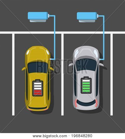 Electric car charging at ev power station. Parking at charging station. Electric vehicle getting energy. Top view. Flat style. Vector illustration.