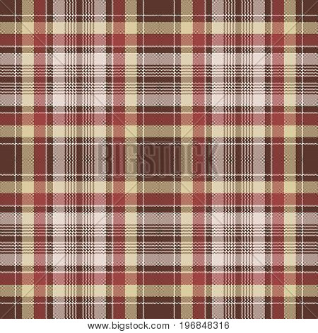 Red pixel fabric texture plaid seamless pattern. Vector illustration.