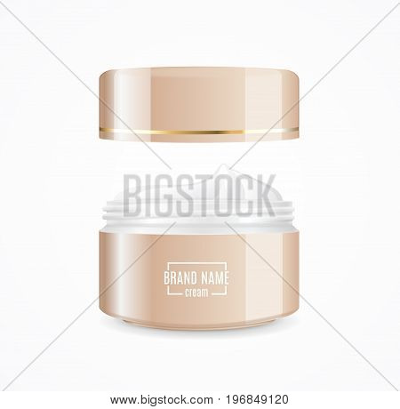 Realistic Cream Can Cosmetic Product Open Concept Promotion and Advertising . Vector illustration