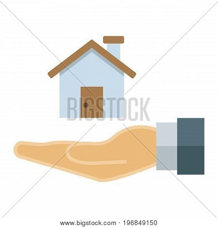 Home in hand flat icon, business and finance, buy house sign vector graphics, a colorful solid pattern on a white background, eps 10.