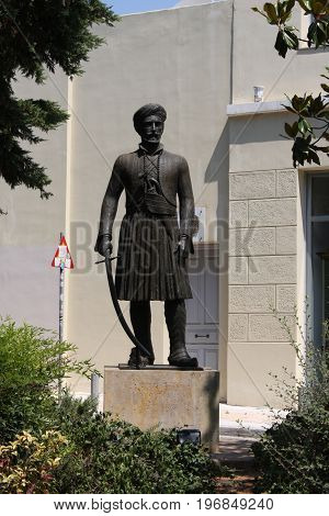 Plaka Athens in Greece with Statue Of Ioannis Makrigiannis 1797-1864 Known As General Makrigiannis