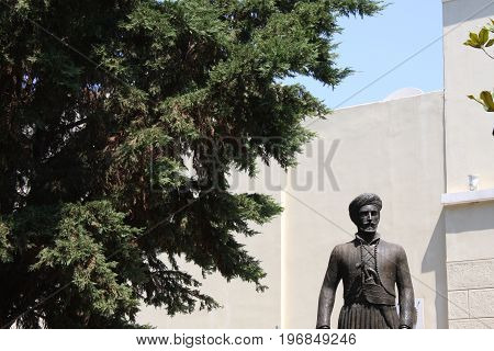 Plaka Athens Greece Statue Of Ioannis Makrigiannis 1797-1864 Known As General Makrigiannis