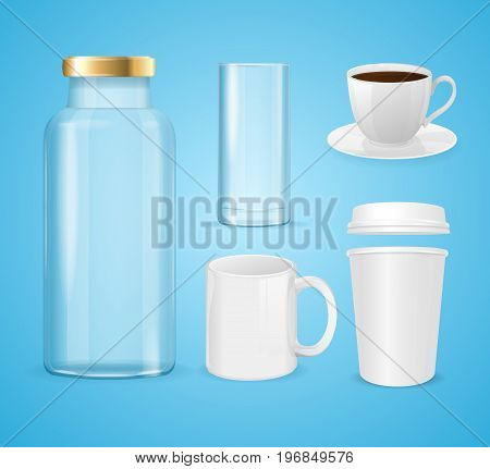 Realistic Cup, Can and Bottle Set for Liquid Beverage Product Empty Template Mockup. Vector illustration