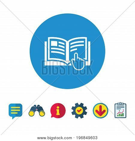 Instruction sign icon. Manual book symbol. Read before use. Information, Report and Speech bubble signs. Binoculars, Service and Download icons. Vector