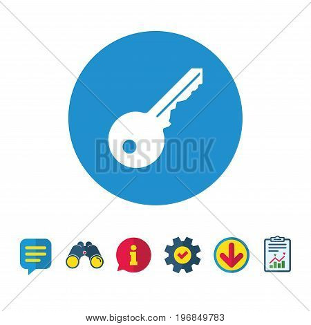 Key sign icon. Unlock tool symbol. Information, Report and Speech bubble signs. Binoculars, Service and Download icons. Vector