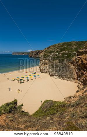 Sagres Portugal - July 6 2017: View of the bay and the Beliche Beach (Praia do Beliche) in Sagres Portugal