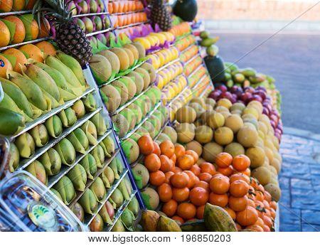 Fresh ripe fruits on a store market Egypt