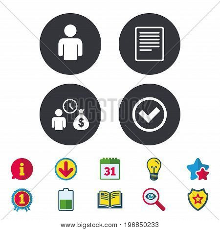 Bank loans icons. Cash money bag symbol. Apply for credit sign. Check or Tick mark. Calendar, Information and Download signs. Stars, Award and Book icons. Light bulb, Shield and Search. Vector