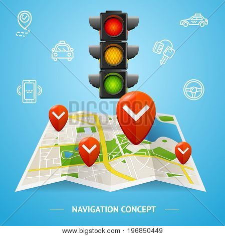 Navigation Service Concept with Traffic Lights, Map and Outline Icons for Web. Vector illustration