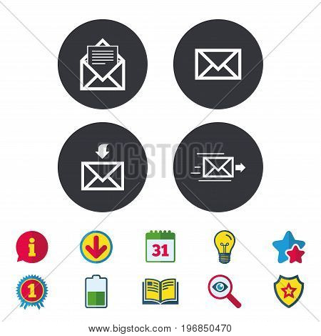 Mail envelope icons. Message document delivery symbol. Post office letter signs. Inbox and outbox message icons. Calendar, Information and Download signs. Stars, Award and Book icons. Vector