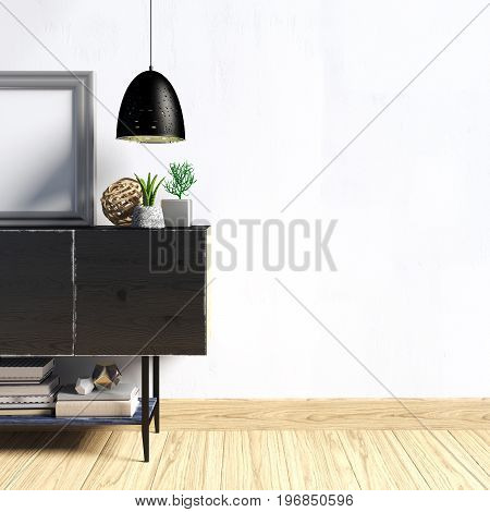 3d illustration modern interior with credenza poster and lamp. wall mock up
